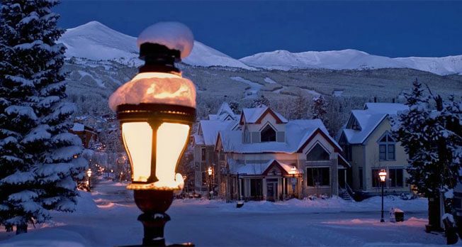 Main Street Breckenridge, CO. Lighting provided by Triangle Electric
